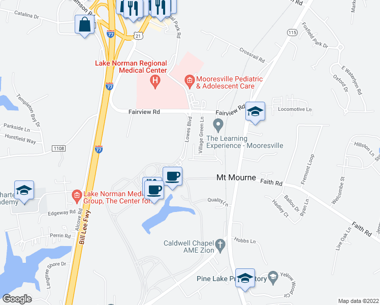 map of restaurants, bars, coffee shops, grocery stores, and more near 128 Steinbeck Way in Mooresville