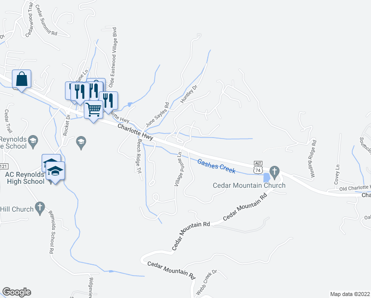 map of restaurants, bars, coffee shops, grocery stores, and more near 277 Charlotte Highway in Asheville