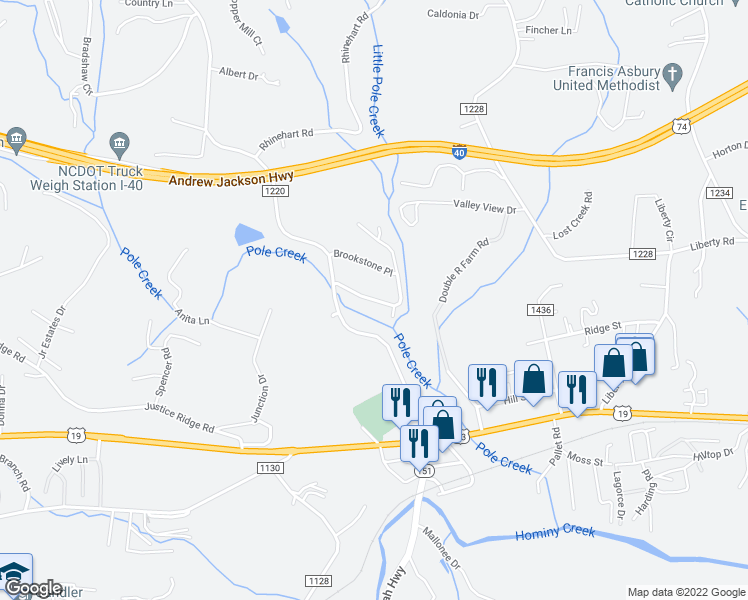 map of restaurants, bars, coffee shops, grocery stores, and more near 34 Westfield Way in Candler