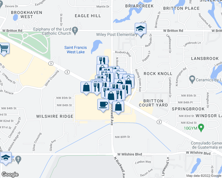 map of restaurants, bars, coffee shops, grocery stores, and more near in Oklahoma City