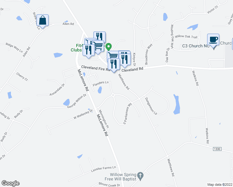 map of restaurants, bars, coffee shops, grocery stores, and more near 209 East Wellesley Drive in Clayton