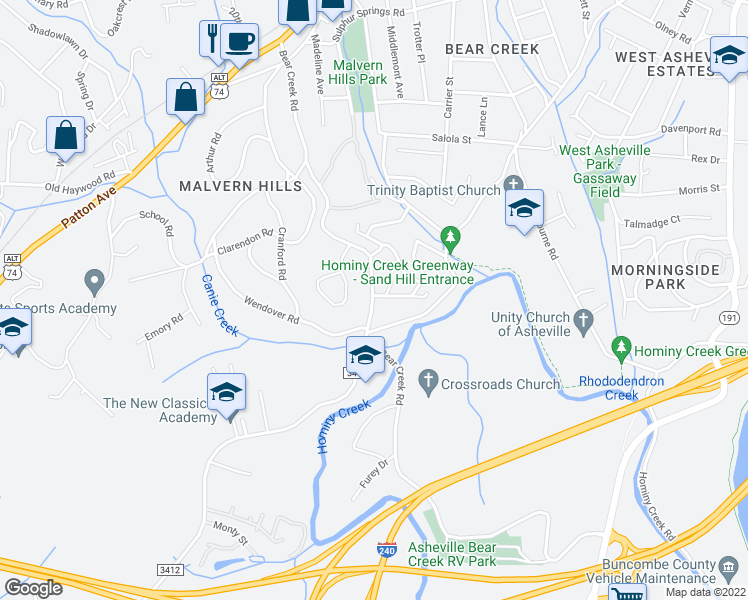 map of restaurants, bars, coffee shops, grocery stores, and more near 256 Bear Creek Road in Asheville