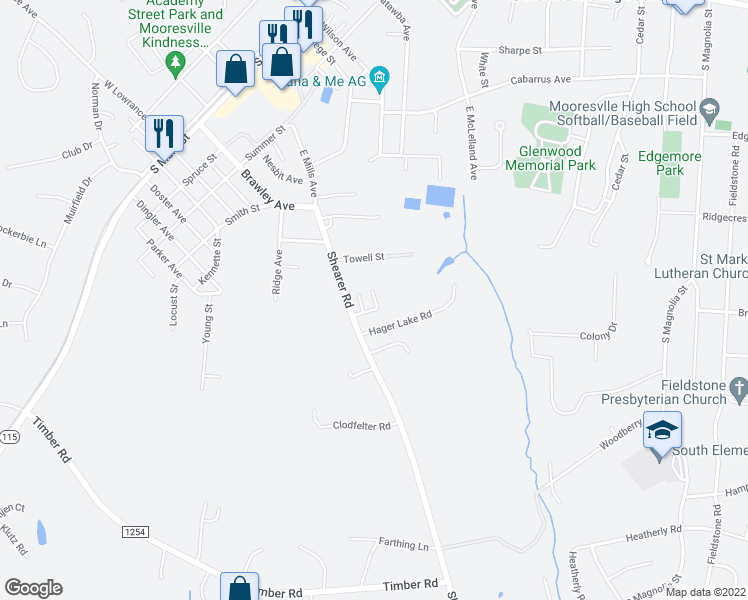 map of restaurants, bars, coffee shops, grocery stores, and more near 445 Stonewood Drive in Mooresville