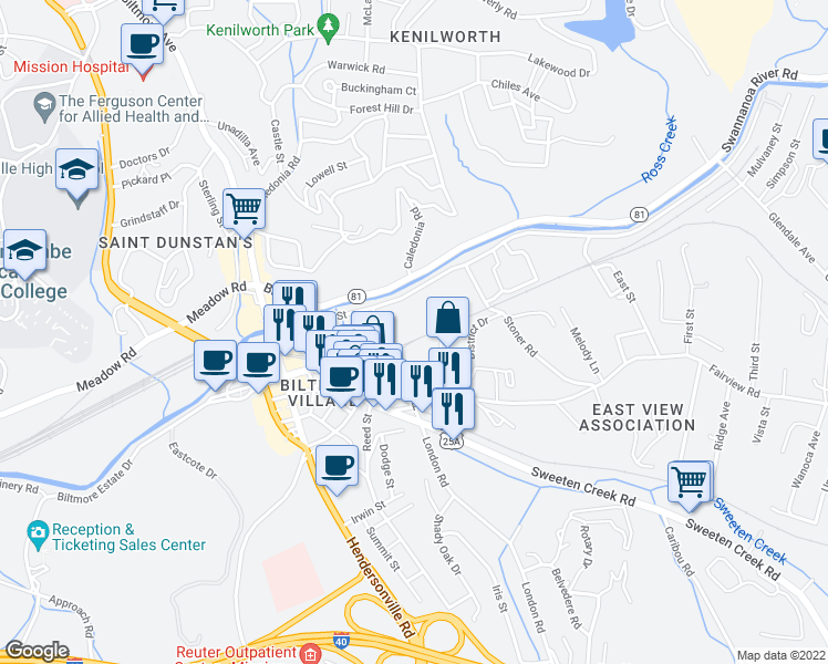 map of restaurants, bars, coffee shops, grocery stores, and more near 75 Thompson Street in Asheville