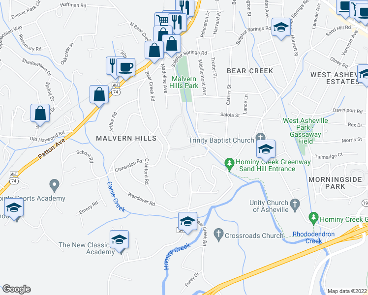 map of restaurants, bars, coffee shops, grocery stores, and more near 110 Bear Creek Lane in Asheville