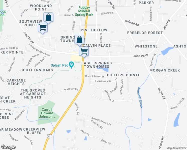 map of restaurants, bars, coffee shops, grocery stores, and more near 901-999 Award Street in Fuquay Varina