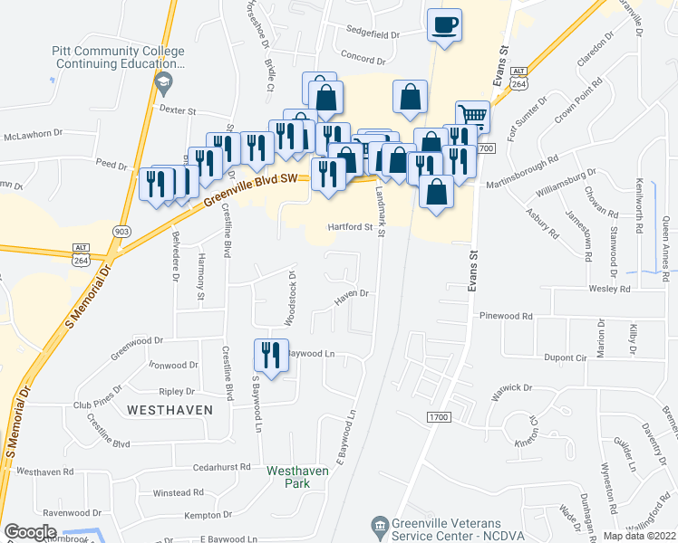 map of restaurants, bars, coffee shops, grocery stores, and more near 3278 Colony Court in Greenville