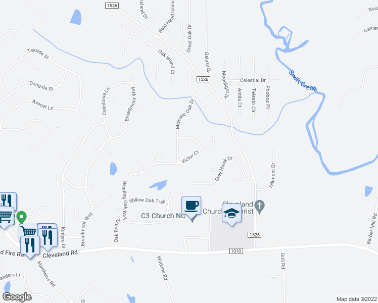 map of restaurants, bars, coffee shops, grocery stores, and more near 72 Green Forest Trail in Garner
