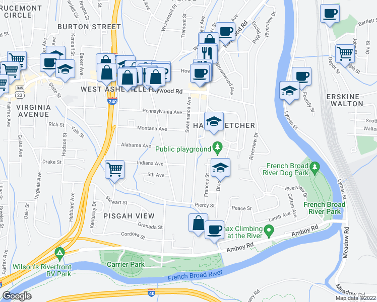 map of restaurants, bars, coffee shops, grocery stores, and more near 118 Swannanoa Avenue in Asheville