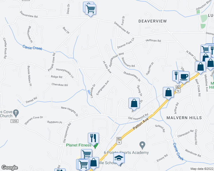 map of restaurants, bars, coffee shops, grocery stores, and more near 42 Robinwood Avenue in Asheville