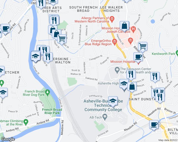 map of restaurants, bars, coffee shops, grocery stores, and more near 37 Water Street in Asheville