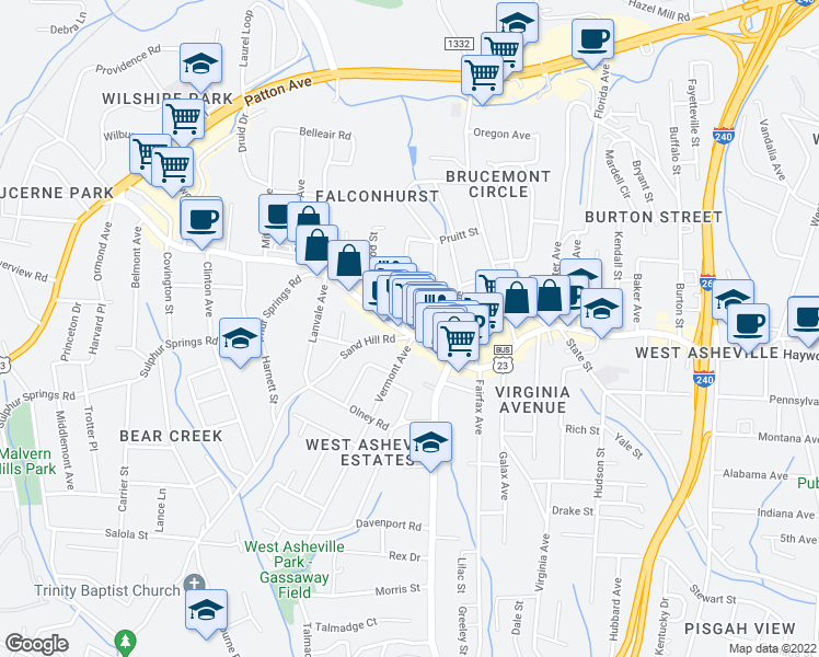 map of restaurants, bars, coffee shops, grocery stores, and more near 779 Haywood Road in Asheville