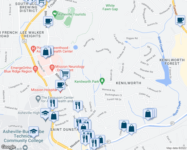 map of restaurants, bars, coffee shops, grocery stores, and more near 9 Keebler Road in Asheville