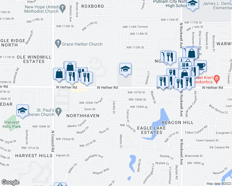 map of restaurants, bars, coffee shops, grocery stores, and more near 10812 Cecilia Drive in Oklahoma City