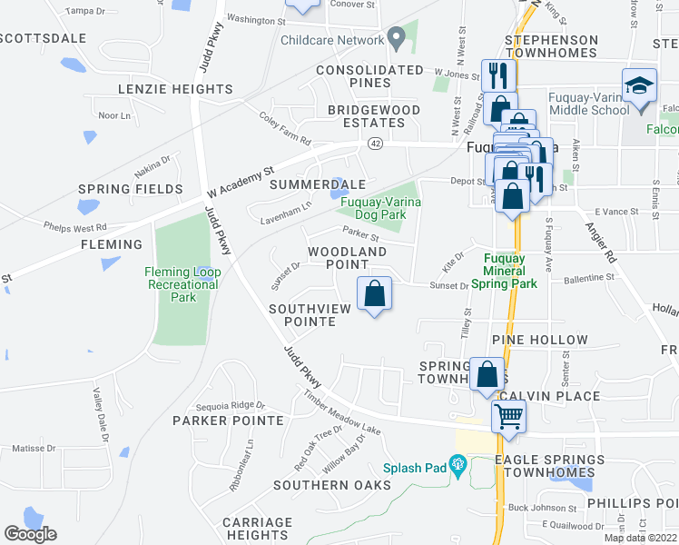 map of restaurants, bars, coffee shops, grocery stores, and more near 501 Hunters Ridge Drive in Fuquay Varina