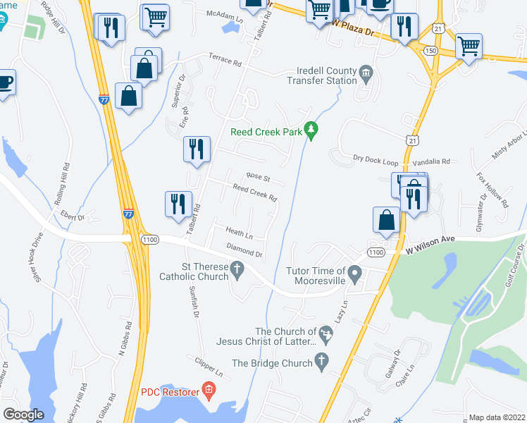 map of restaurants, bars, coffee shops, grocery stores, and more near 116 Gran Court in Mooresville