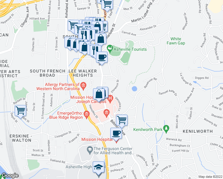 map of restaurants, bars, coffee shops, grocery stores, and more near 128 Florence Street in Asheville