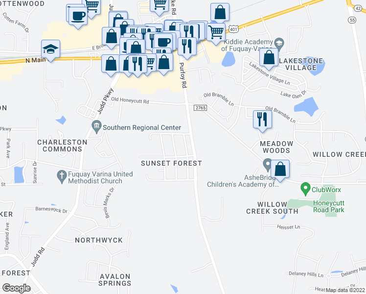 map of restaurants, bars, coffee shops, grocery stores, and more near 109 North Friars Chase Lane in Fuquay Varina