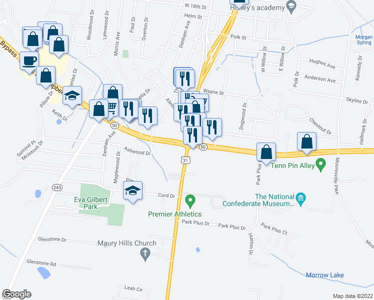 map of restaurants, bars, coffee shops, grocery stores, and more near 102 East James Campbell Boulevard in Columbia