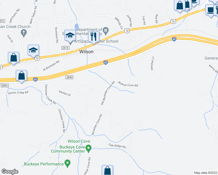 map of restaurants, bars, coffee shops, grocery stores, and more near 444-460 Old Buckeye Cove Road in Swannanoa