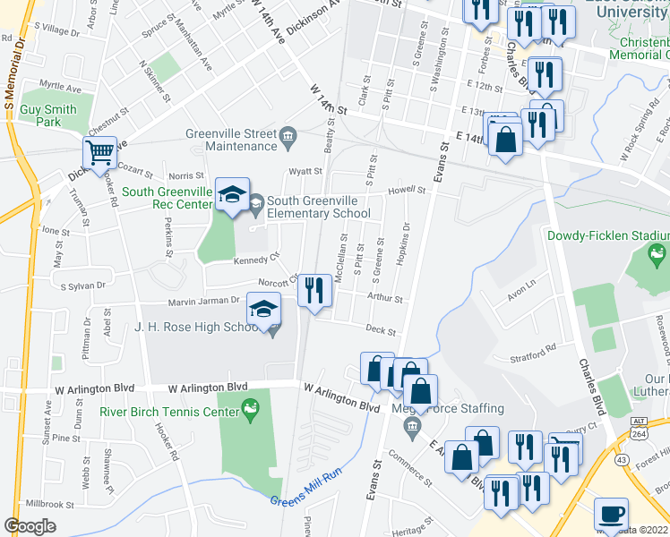 map of restaurants, bars, coffee shops, grocery stores, and more near 1806 McClellan Street in Greenville