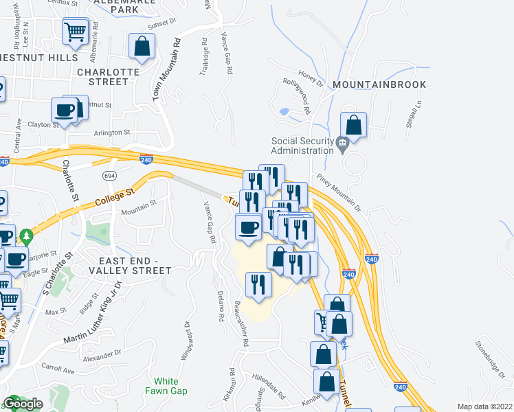 map of restaurants, bars, coffee shops, grocery stores, and more near 4 Tunnel Road in Asheville