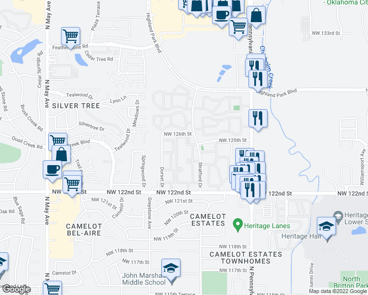 map of restaurants, bars, coffee shops, grocery stores, and more near 2301 Northwest 122nd Street in Oklahoma City