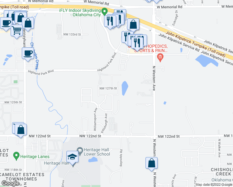 map of restaurants, bars, coffee shops, grocery stores, and more near 12701 Heritage Oaks Drive in Oklahoma City