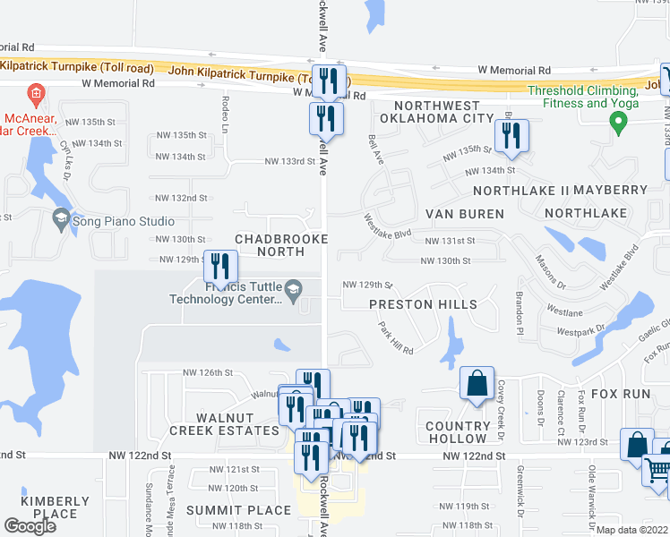 map of restaurants, bars, coffee shops, grocery stores, and more near 13101 Rock Meadows Circle in Oklahoma City