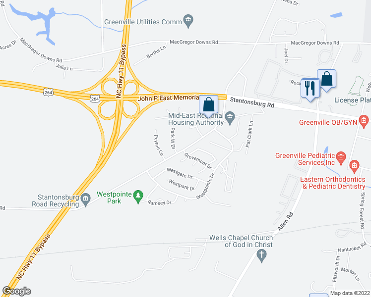 map of restaurants, bars, coffee shops, grocery stores, and more near 2792 Stantonsburg Road in Greenville