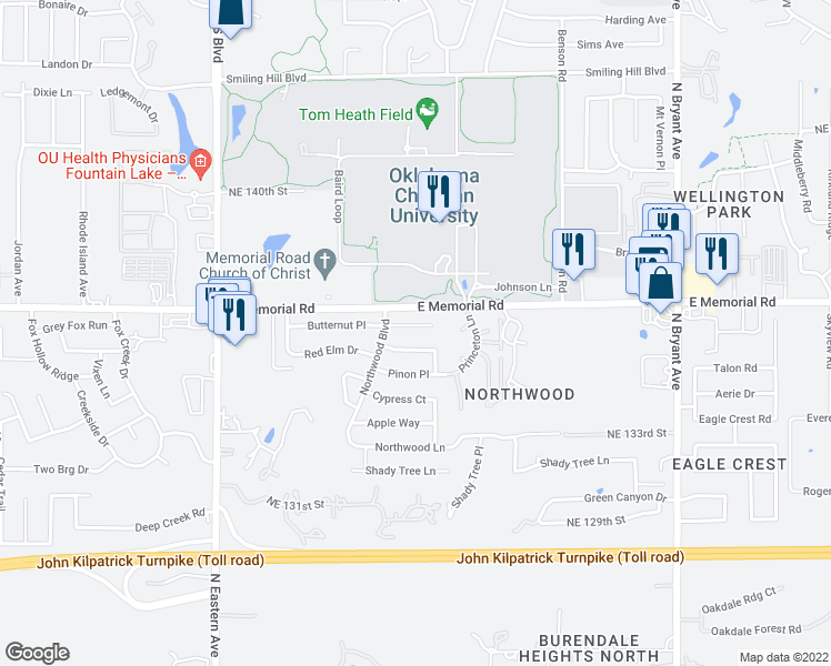 map of restaurants, bars, coffee shops, grocery stores, and more near 2408 Butternut Place in Edmond