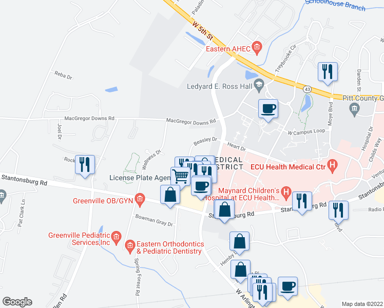 map of restaurants, bars, coffee shops, grocery stores, and more near 410 Beasley Drive in Greenville