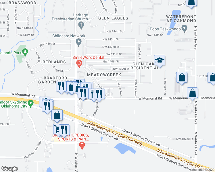 map of restaurants, bars, coffee shops, grocery stores, and more near 806 Northwest 137th Street in Edmond