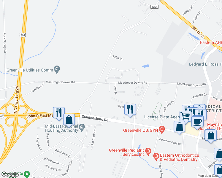 map of restaurants, bars, coffee shops, grocery stores, and more near 3005 Macgregor Downs Road in Greenville