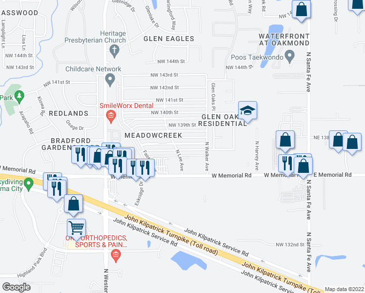 map of restaurants, bars, coffee shops, grocery stores, and more near 537 Northwest 137th Street in Edmond
