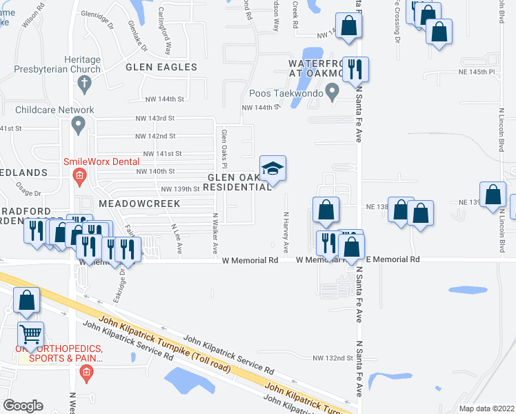 map of restaurants, bars, coffee shops, grocery stores, and more near 13911 North Harvey Avenue in Edmond
