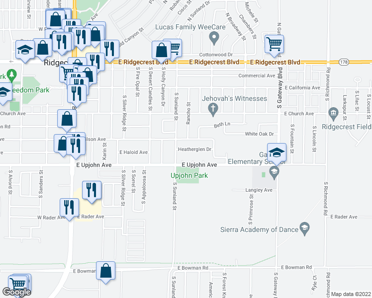 map of restaurants, bars, coffee shops, grocery stores, and more near Heatherglen Drive in Ridgecrest