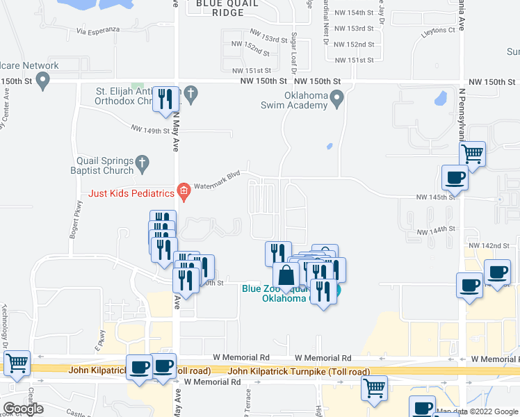 map of restaurants, bars, coffee shops, grocery stores, and more near 2600 Watermark Boulevard in Oklahoma City
