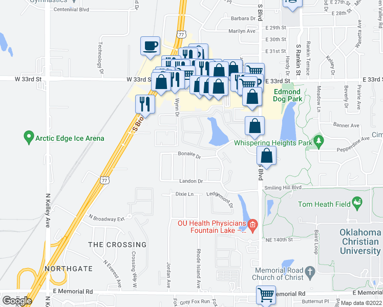 map of restaurants, bars, coffee shops, grocery stores, and more near 113 Bonaire Drive in Edmond