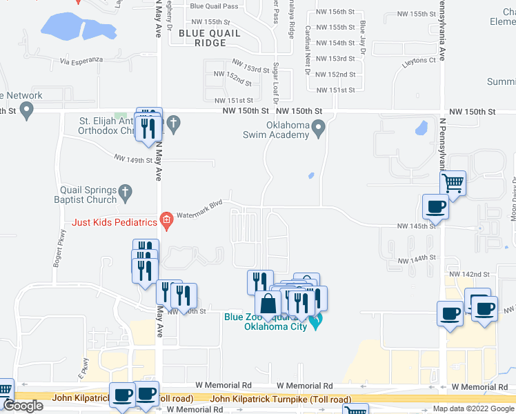 map of restaurants, bars, coffee shops, grocery stores, and more near 2698 Watermark Boulevard in Oklahoma City