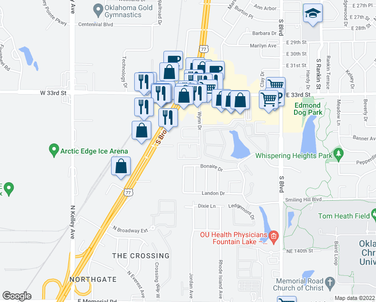 map of restaurants, bars, coffee shops, grocery stores, and more near 3621 Wynn Drive in Edmond