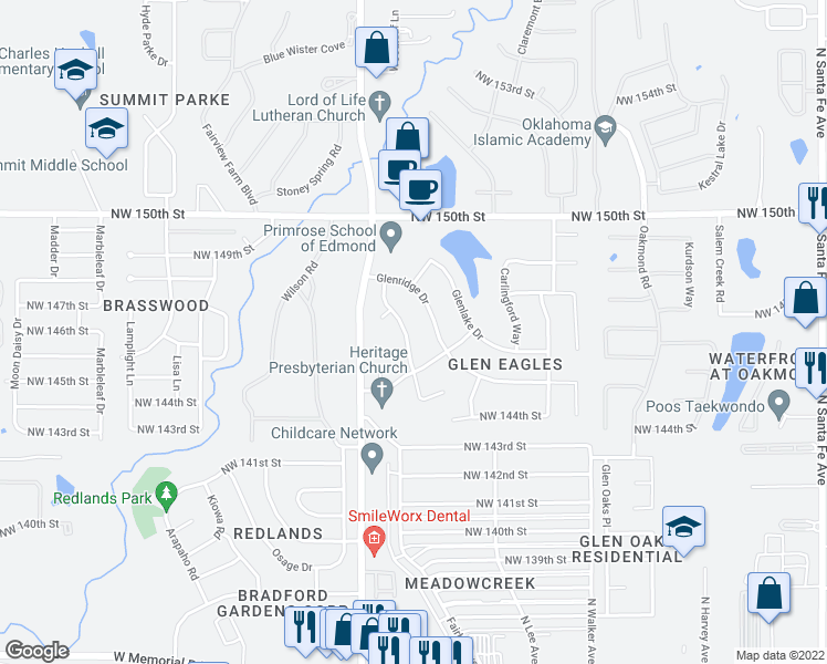 map of restaurants, bars, coffee shops, grocery stores, and more near 14712 Glenmark Drive in Edmond