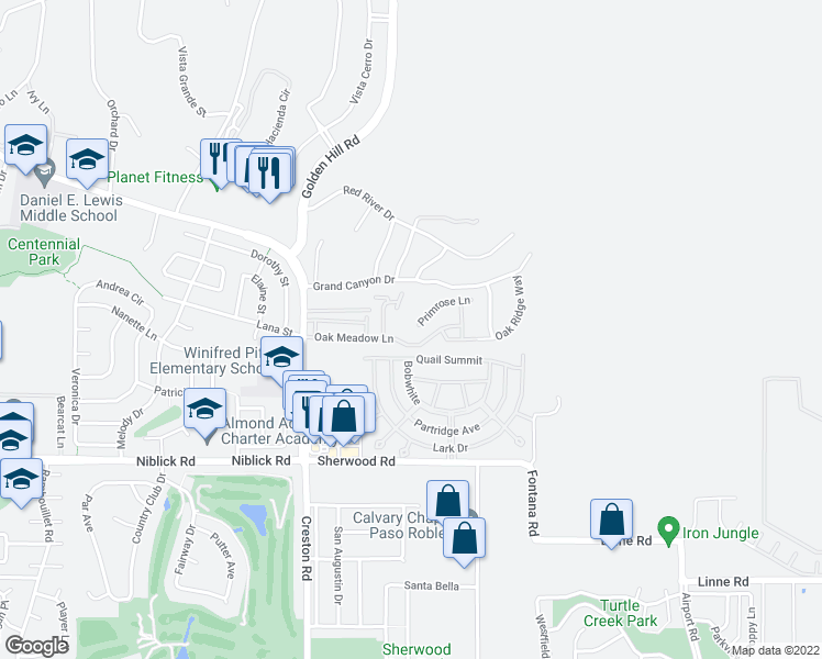 map of restaurants, bars, coffee shops, grocery stores, and more near 301 Primrose Lane in Paso Robles
