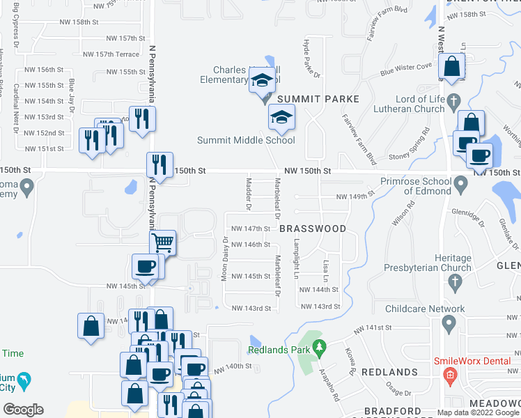 map of restaurants, bars, coffee shops, grocery stores, and more near 1705 Northwest 148th Street in Edmond