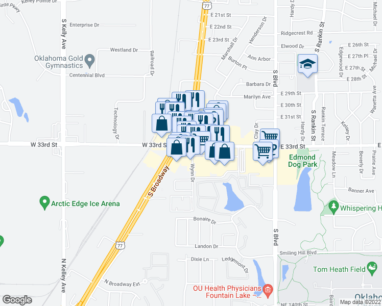 map of restaurants, bars, coffee shops, grocery stores, and more near 38-50 East 33rd Street in Edmond
