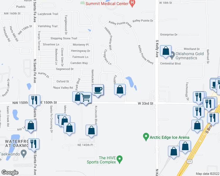 map of restaurants, bars, coffee shops, grocery stores, and more near 1501 Switchgrass Road in Edmond