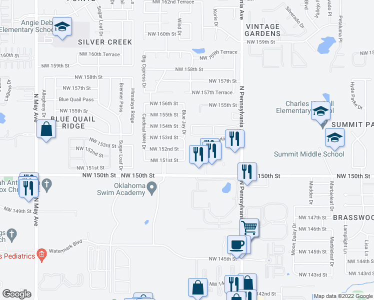 map of restaurants, bars, coffee shops, grocery stores, and more near 15216 Blue Jay Drive in Edmond