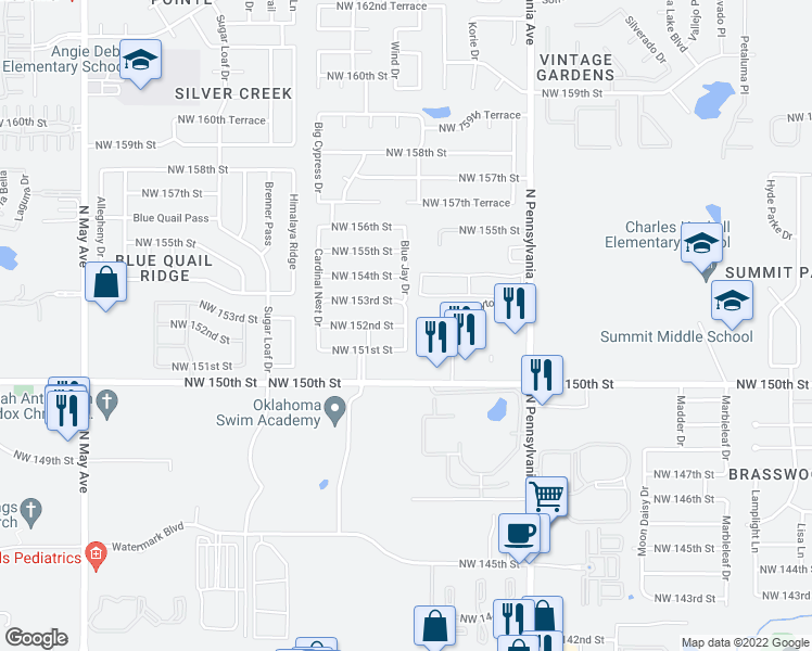map of restaurants, bars, coffee shops, grocery stores, and more near 15204 Blue Jay Drive in Edmond