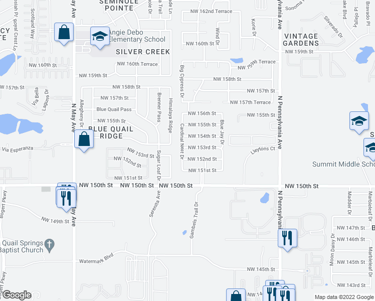 map of restaurants, bars, coffee shops, grocery stores, and more near 2416 Northwest 153rd Street in Edmond