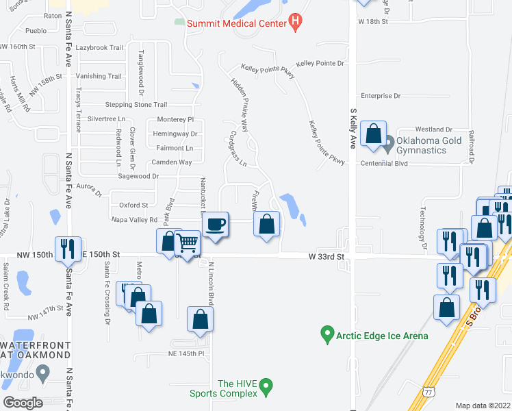 map of restaurants, bars, coffee shops, grocery stores, and more near 2913 Hidden Prairie Circle in Edmond